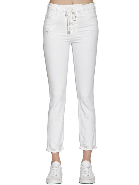 jeans denim high fit lace white