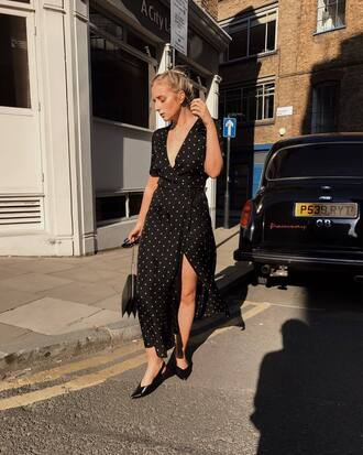 dress tumblr maxi dress long dress slit dress wrap dress polka dots shoes black shoes slingbacks