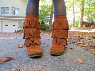 shoes indian boots fringe brown moccasins