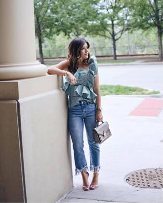 top ruffled top tumblr green top asymmetrical asymmetrical top ruffle denim jeans blue jeans frayed denim sandals sandal heels high heel sandals bag shoes