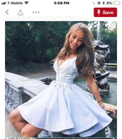 dress,short homecoming dress,light blue,skater dress,prom dress,cute,v neck,v neck dress,lace dress