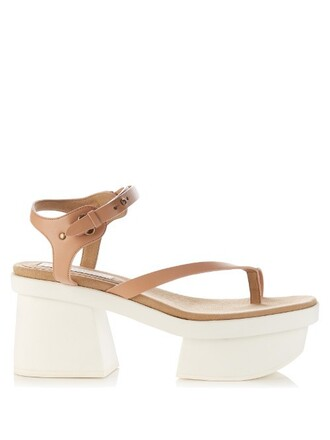 heel sandals platform sandals leather nude shoes
