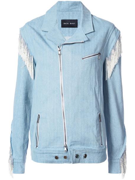 Baja East jacket biker jacket denim women cotton blue