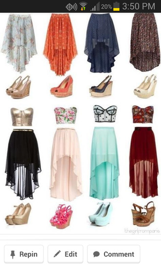 skirt neon skirt high-low dresses highlow mint chiffon cute dress casual dress tank top chiffon skirt
