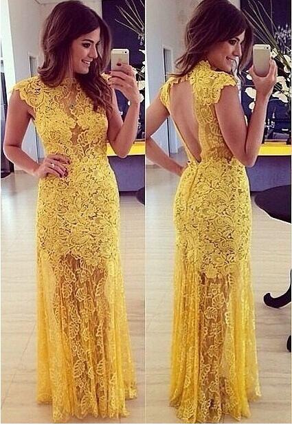 Hot long yellow lace dress
