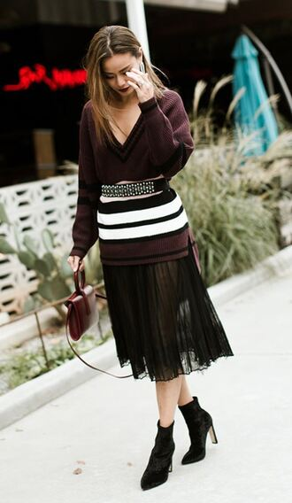 sweater pleated ankle boots jamie chung belt midi skirt plunge v neck blogger fall outfits skirt