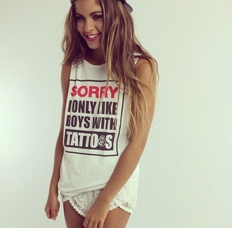 t-shirt guys tattoo singlet true love shirt sorry i only like boys with tattoos