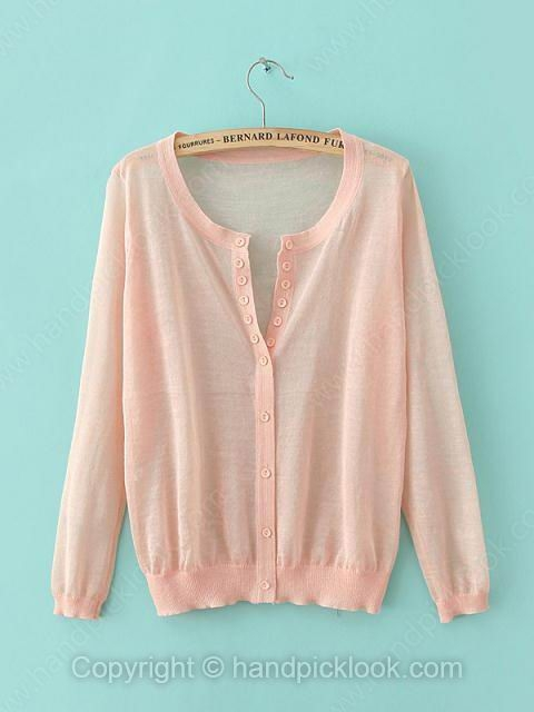 Pink Round Neck Long Sleeve Button Knit Top - HandpickLook.com