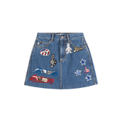 skirt,denim skirt,mini skirt,marc jacobs,patch,embellished denim,lips,american,rainbow,stars