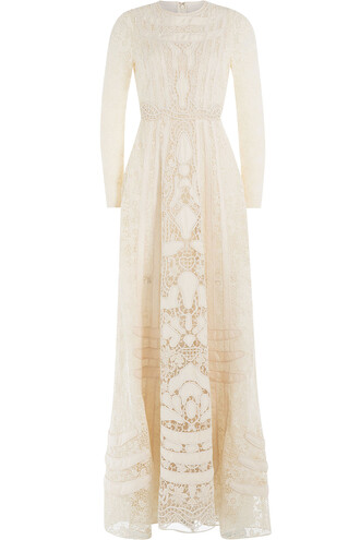 gown embellished lace white dress