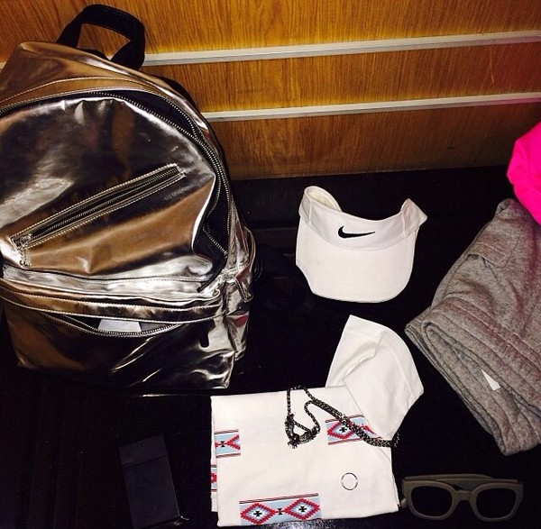 bag colorful celebrity fashion backpack silver clothes gold dress t-shirt t-shirt shorts shoes hat pants
