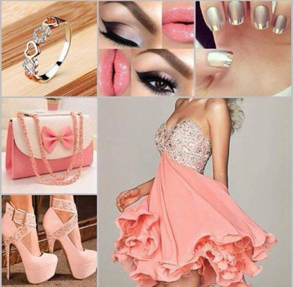bag dress clutch shoes ring jewels heart summer dress wedding girly pink high heels baby pink high heels glitter dress babypink dress nail polish