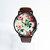 Floral Watch, Vintage Style Leather Watch, Women Watches, Unisex Watch, Boyfriend Watch, Silver Case , Black,
