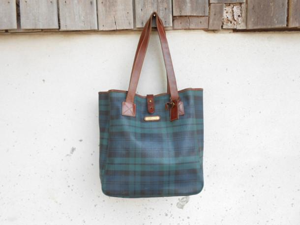 7abb8a1a46 bag polo bag vintage bag girl bag blackwatch bag leather bag shopper bag  shoulder bag vintage