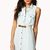 Crocheted Denim Shirt Dress w/ Belt | FOREVER21 - 2048471199