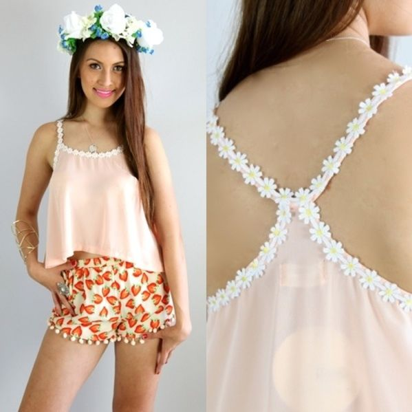FESTIVAL PEACH DAISY CHAIN SWING RACER BACK DRAPE GRECIAN CROP TOP 6 8 10 12 | eBay