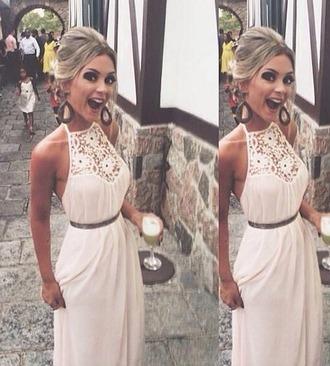 dress white dress white maxi dress chrochet lace choker dress halter maxi summer dress summer outfits