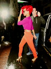 pants,rihanna,orange,high waisted pants,orange pants,blouse