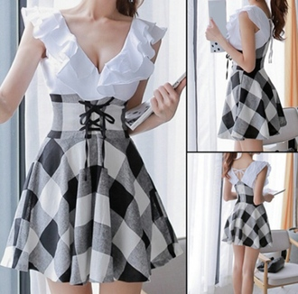 dress plaid kawaii short dress cute girly style fashion school girl ruffle pretty asian fashion japanese fashion korean fashion