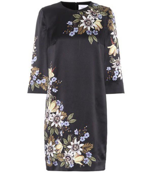 Erdem Emma floral-printed silk dress in black