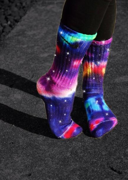 underwear nike galaxy print socks shoes galaxy print galaxy socks nike socks so colorful