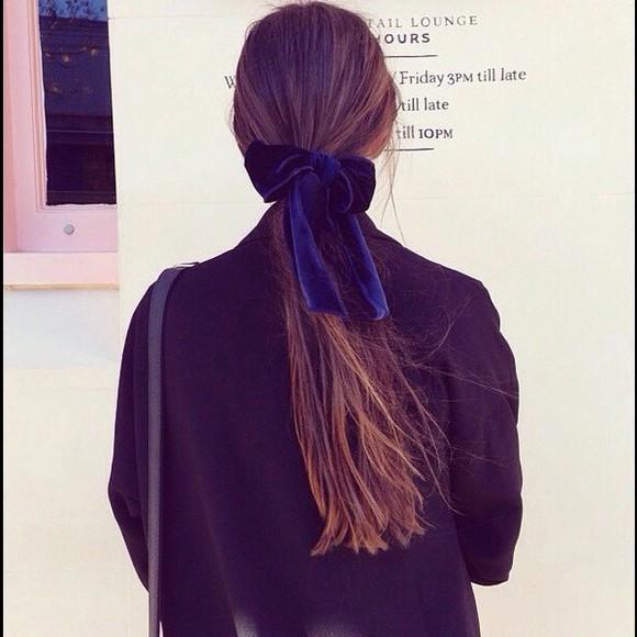 hair bow hair accessories velvet blue shelby hamilton meowshelbs tumblr dark blue instagram