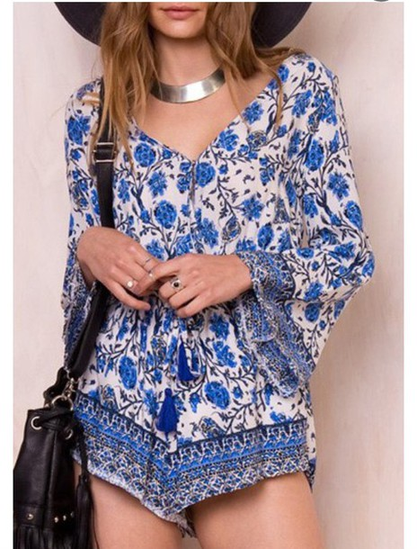 61c1a843c08 blue and white floral boho long sleeve romper romper fall outfits 70s style