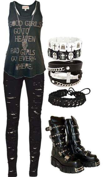 tank top emo scene indie black ripped jeans bracelets shoes grunge jewels jewelry necklace grunge jewelry skull skull necklace skull jewelry jeans stacked bracelets