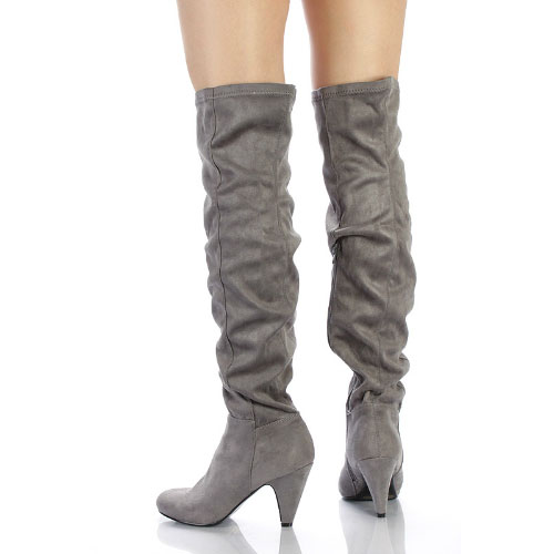 791929bb1f6 Method-01 Chunky Heels Over-the-knee Boots Faux Suede - Cutesy ...