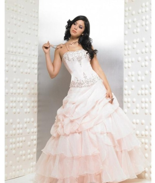 dress, beautiful pink quinceanera dress, white prom dress, wedding ...