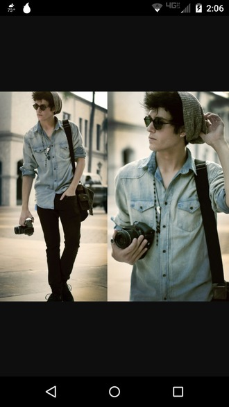 top denim shirt indie boys fashion guys male fahsion shirt menswear tumblr mens shirt