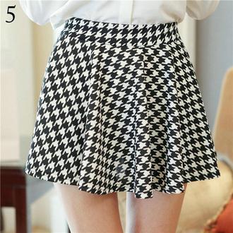 skirt plaid skirt it girl shop high waisted black and white skater skirt high heels hipster flare