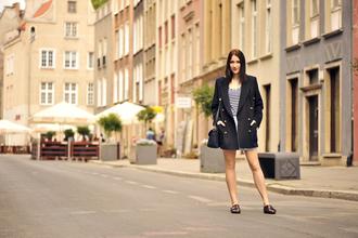 shiny sil blogger bag blouse jacket jewels shorts skirt shoes