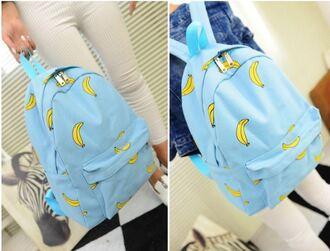 bag blue cute banana back to school kawaii trendy cool fashion style it girl shop