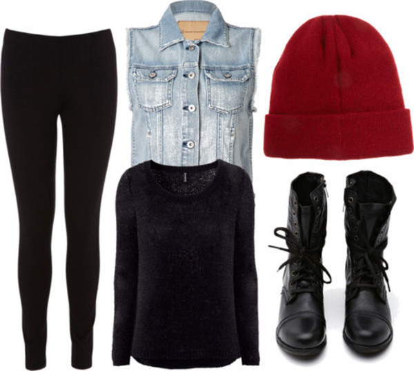 shirt denim jacket beanie combat boots sweater leggings shoes jeans