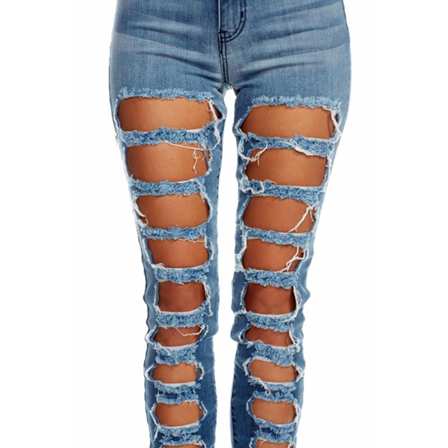 Rise square destructed denim jeans
