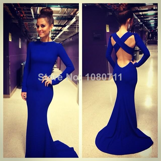 Buy 2014 sexy robe de soiree evening gowns high neck long sleeve criss cross backless royal blue mermaid prom dresses $125.66