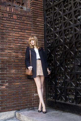 miss pandora blogger coat button up skirt shoulder bag