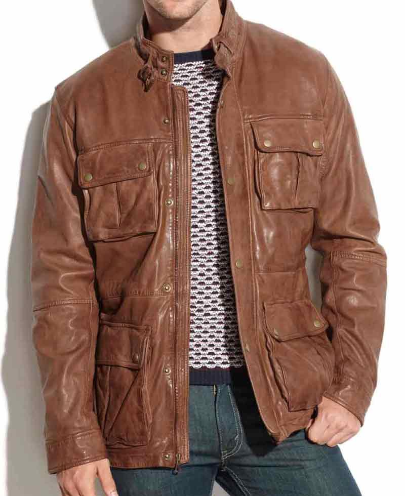 Men's Motorcycle Four Pockets Vintage Brown Leather Jacket - Films Jackets