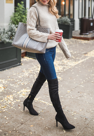 shoes tumblr sweater cable knit denim jeans blue jeans boots black boots over the knee boots thigh high boots pointed boots high heels boots bag tote bag beige sweater turtleneck turtleneck sweater