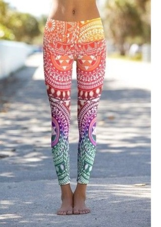 leggings pants yoga pants multi rainbow gym multicolor