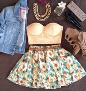 shirt,outfit,skirt,flowers,shoes,cute,clothes,jeans,denim jacket,high heels,cute high heels,jacket,jewels