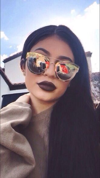 sunglasses kylie jenner mirrored sunglasses sunnies glasses kardashians keeping up with the kardashians celebrity style celebrity celebstyle for less