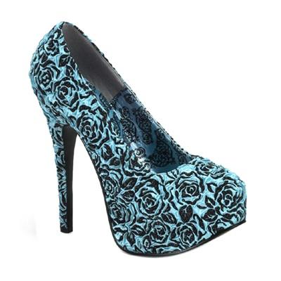 Bordello TEEZE-39 Blue Satin Platform Pumps - Bordello Shoes
