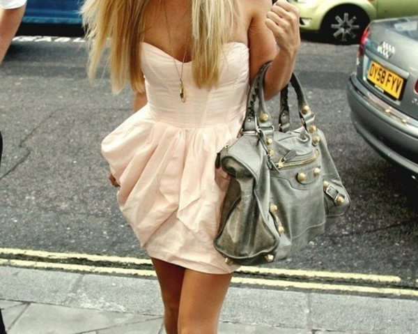 purse grey pink pastel dress necklace bag nude dress ruffle cream dress olive green handbag clothes peach peach dress white dress jewels pink dress cute outfits leather purse city outfits pink dress fashion outfit blonde hair short party dress short party dresses corsage detail bandeau dress wired nude sweetheart neckline fit-and-flare tumblr short dress