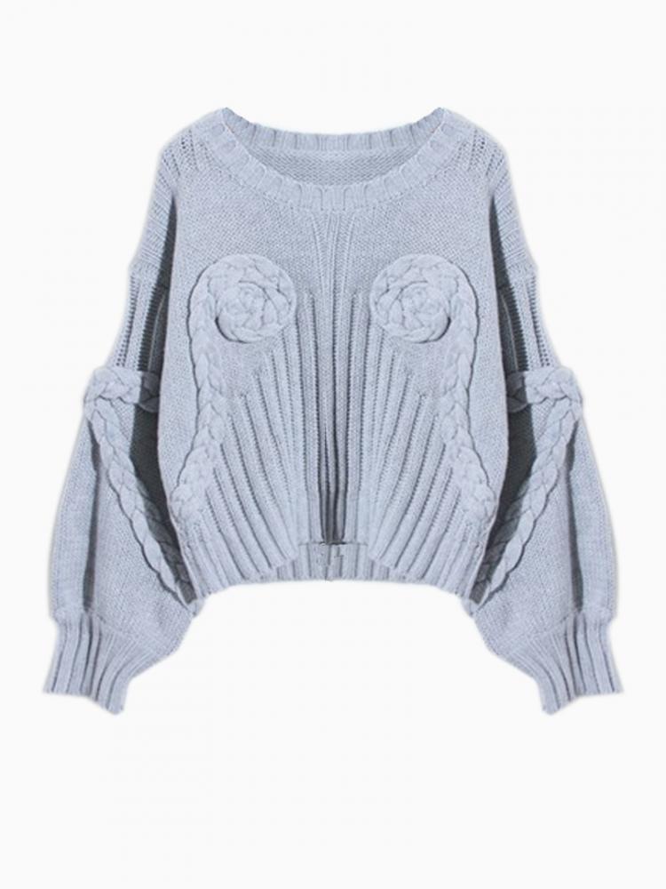 Blue 3D Flower Crop Sweater | Choies