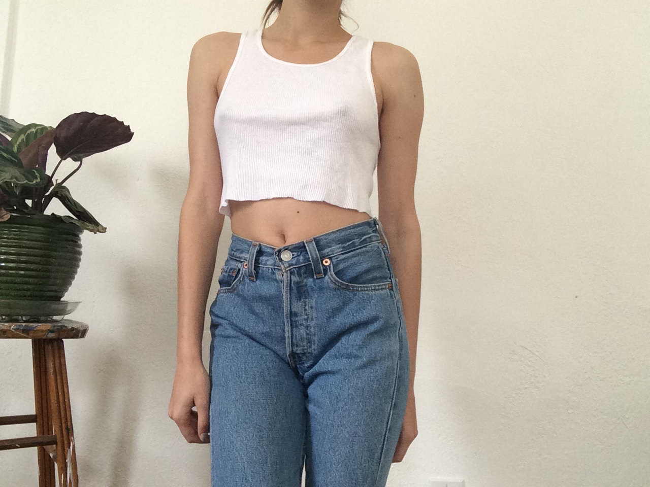 ea7ef791dcc74 White Cropped Tank   90s   ribbed   small   medium   wife beater