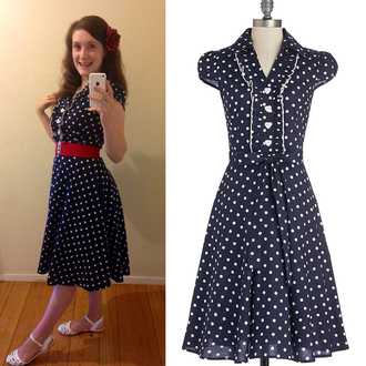 audrey hepburn 50s style pin up vintage dress party dress blue dress polka dots 50s dress pinup pinup girl dress school dress pinup dress