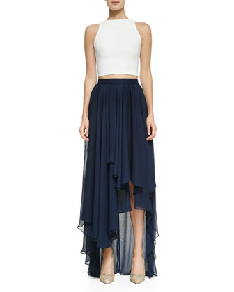 Alice   Olivia Pire Sleeveless Crop Top & Andy High-Low Chiffon Maxi Skirt