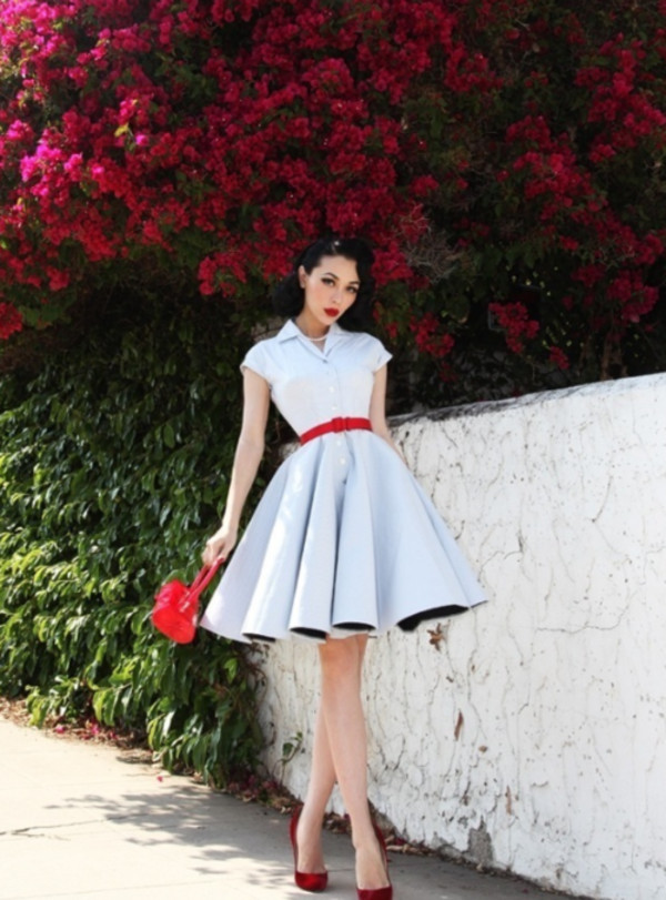dress, retro, blue, red, belt, 50s style, 50s style, 60s ...